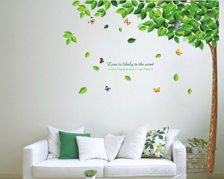 Large Tall Tree Green Leaves Wall Decal Vinyl Tree Art Stickers In Wall Tree Art (Image 7 of 20)