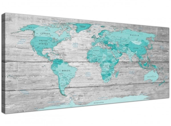 Large Teal Grey Map Of World Atlas Canvas Wall Art Print 120Cm Wide Pertaining To Oversized Teal Canvas Wall Art (View 18 of 25)