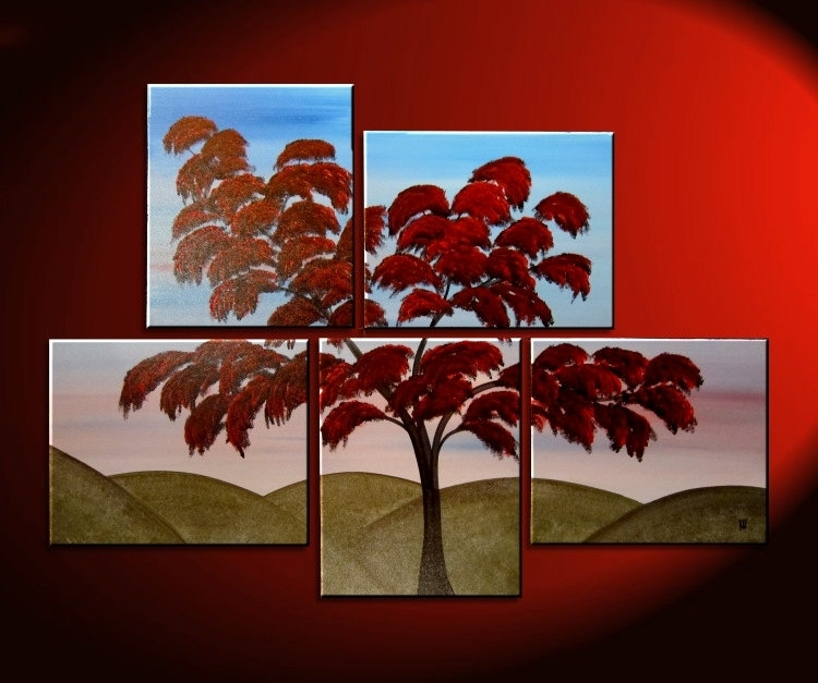 Large Tree Painting Wall Art Red Green Hills Blue Sky Modern Abstact With Large Canvas Painting Wall Art (View 22 of 25)