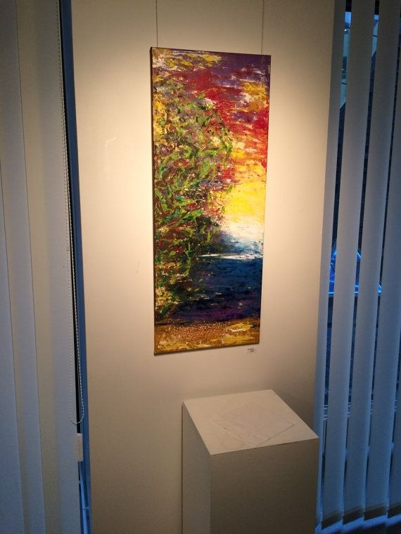 Large Vertical Painting, Large Vertical Art Canvas, Long Vertical With Regard To Long Canvas Wall Art (View 5 of 25)