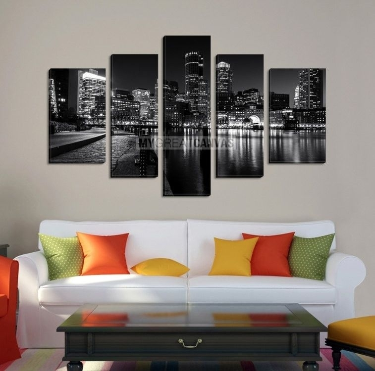 Large Wall Art Boston Canvas Print Black And White Asymmetric 5 Intended For Boston Wall Art (View 23 of 25)