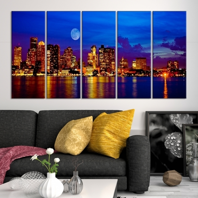 Large Wall Art Boston Canvas Print – Boston City With Wonderful Moon Within Boston Wall Art (View 13 of 25)