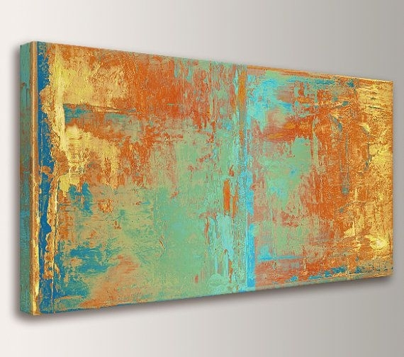 Large Wall Art Canvas Print Abstract Wall Art Orange Yellow Teal And In Oversized Teal Canvas Wall Art (View 24 of 25)