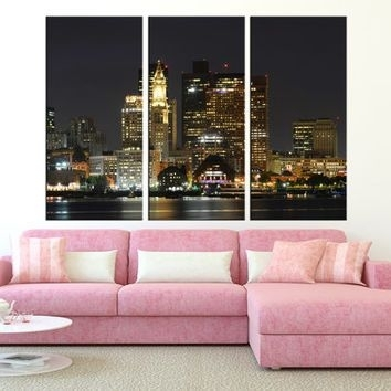 Large Wall Art Canvas Print – Boston Skyline Canvas Art – Extra In Boston Wall Art (Image 22 of 25)