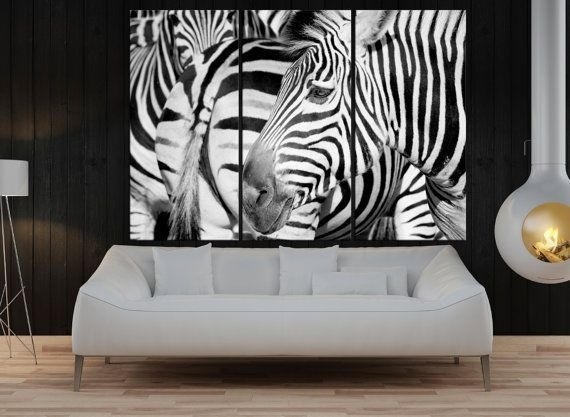 Large Wall Art For Living Room, Zebra Canvas Print Extra Large Wall Within Extra Large Wall Art (View 2 of 20)