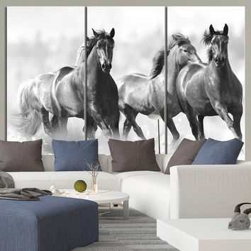 Large Wall Art Running Wild Horses Canvas From Mycanvasprint For Horse Wall Art (Image 4 of 10)
