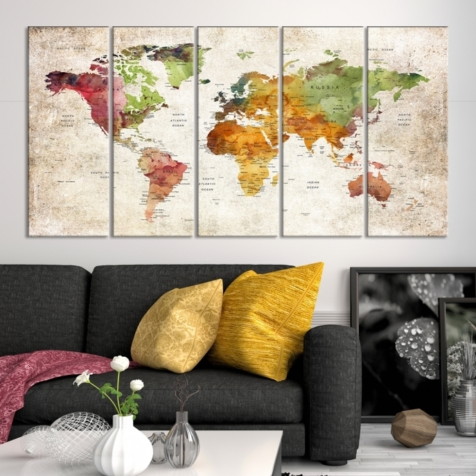 Large Wall Art World Map Push Pin Canvas Print, Anniversary With Regard To Wall Art World Map (Image 7 of 25)