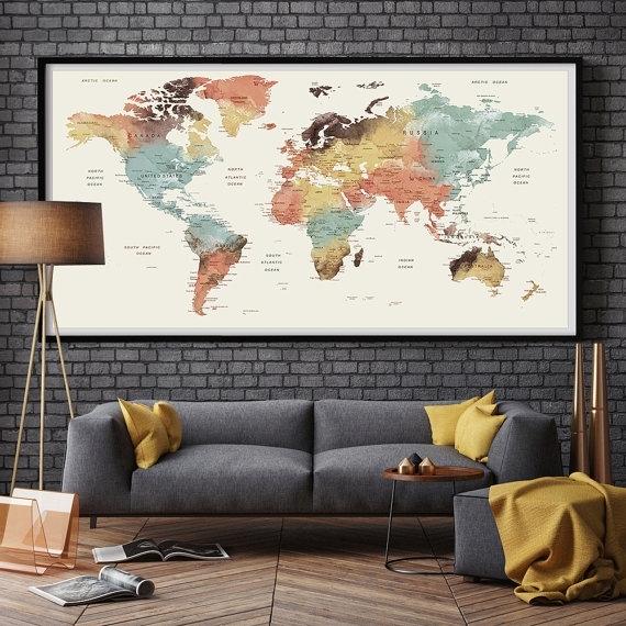 Large Wall Art World Map Push Pin Print / Watercolor World Map Print Regarding Map Of The World Wall Art (View 5 of 25)