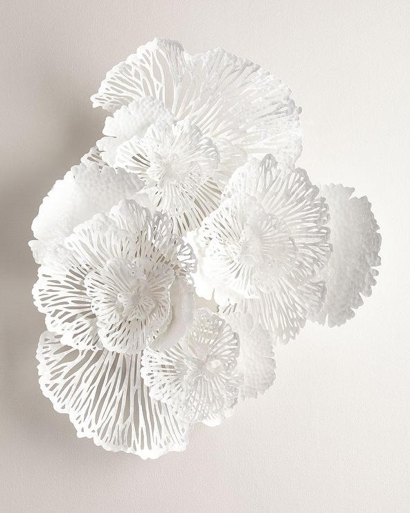 Large White Flower Wall Art Throughout Metal Flower Wall Art (Image 4 of 10)