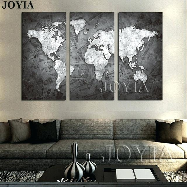 Large World Map Wall Art Large World Map Wall Art Canvas Black Regarding Maps Wall Art (View 18 of 25)