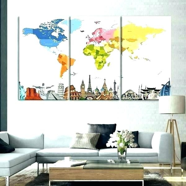 Large World Map Wall Art World Map Words Poster World Map Wall Art Within Wall Art Map Of World (View 15 of 25)
