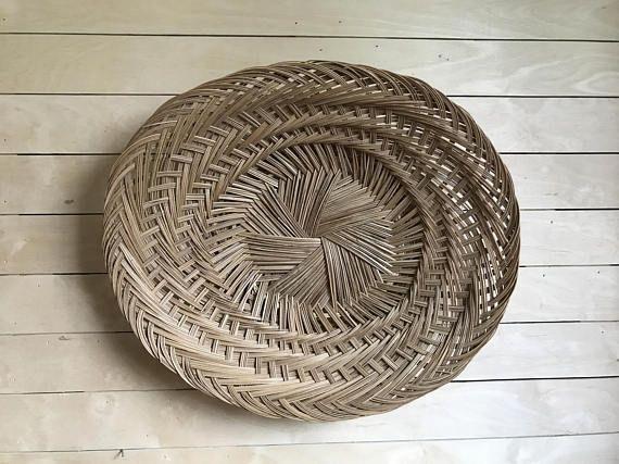 Large Woven Wall Basket / Bamboo Basket / Large Wicker Basket / Boho With Regard To Woven Basket Wall Art (Image 7 of 25)