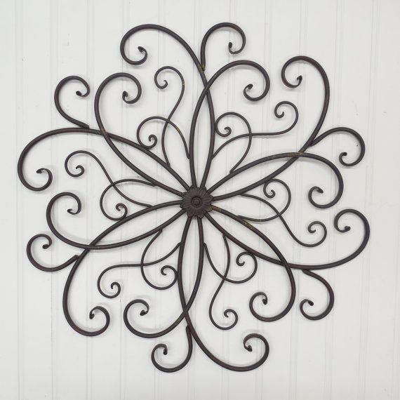 Large Wrought Iron Wall Decor You Pick Color(S)/ Metal Wall Decor In Wrought Iron Wall Art (Image 7 of 10)
