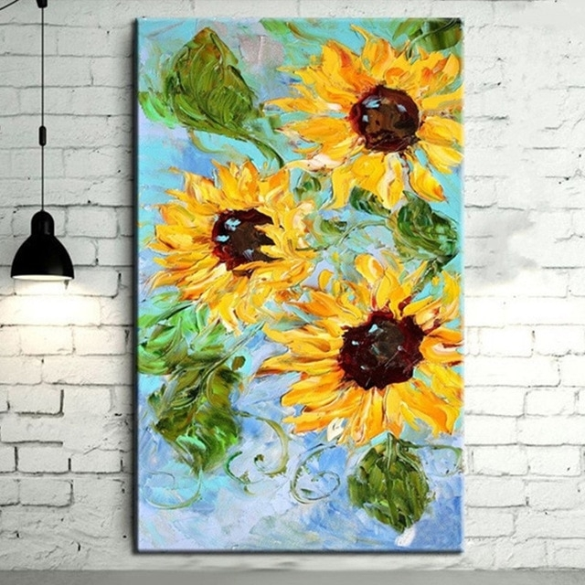 Large Yellow Sunflower Wall Art Picture Hand Painted Knife Flower In Sunflower Wall Art (Image 8 of 25)