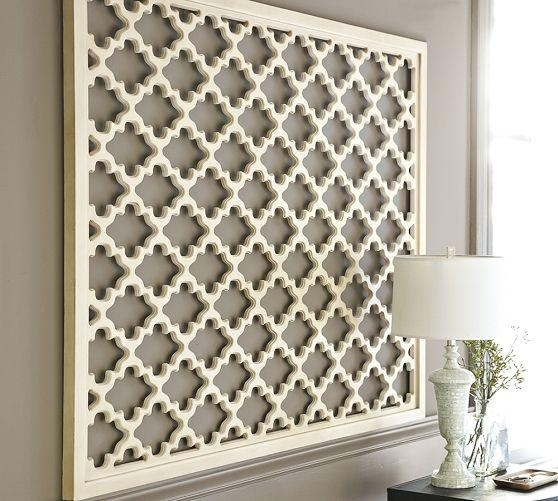 Lattice Panel White Wall Art Within White Wall Art (Image 7 of 20)