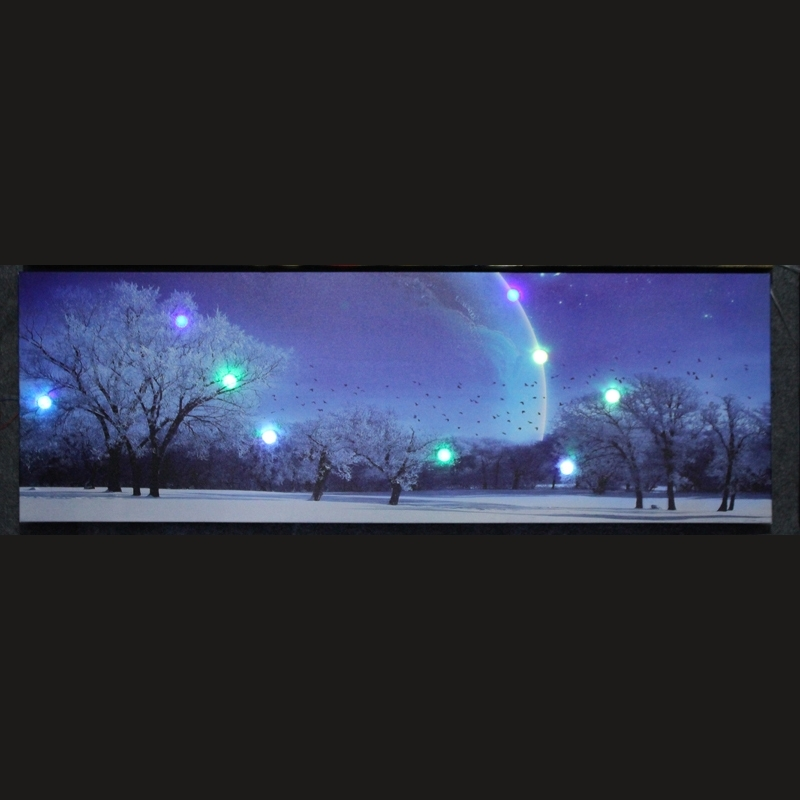Led Canvas Snow Print Painting With Led Lights Home Decor Wall Art With Led Wall Art (View 2 of 20)