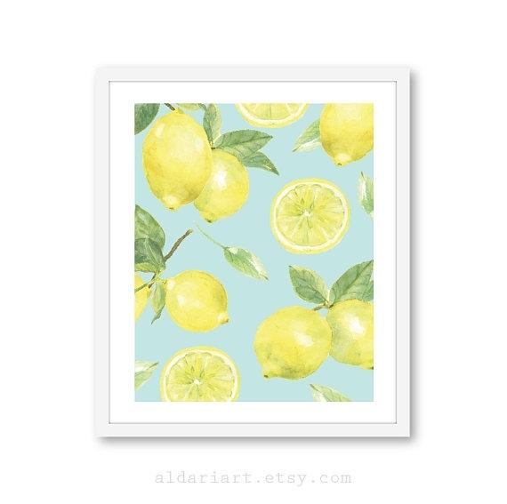 Lemon Art Print – Lemon Wall Art – Fruit Art – Kitchen Decor – 8X10 With Regard To Lemon Wall Art (View 16 of 20)