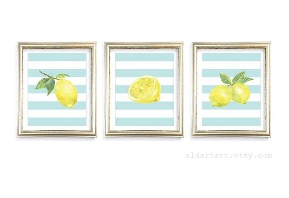 Lemon Art Prints Lemon Wall Art Lemon Watercolour Prints | Etsy With Lemon Wall Art (View 2 of 20)