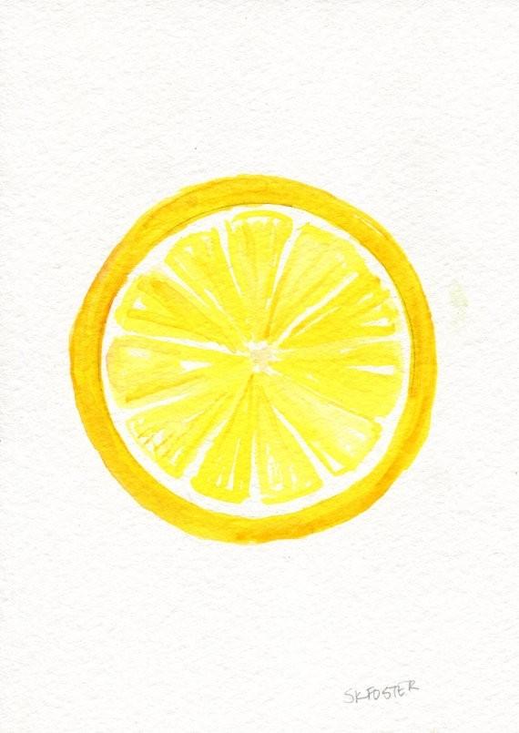 Lemon Wall Art Elegant Original Watercolor Painting 5 X 7 Artwork In Lemon Wall Art (View 15 of 20)