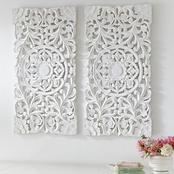 Lennon & Maisy Ornate Wood Carved Wall Art, Set Of 3 | Wall within Carved Wood Wall Art