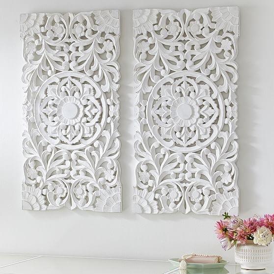 Lennon & Maisy Ornate Wood Carved Wall Art, Set Of 3 | Wall Within Carved Wood Wall Art (View 2 of 10)