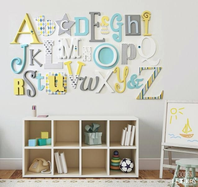 Letters For Wall Name Sign For Nursery Girl Boy Baby Name Letters Inside Alphabet Wall Art (Image 17 of 25)