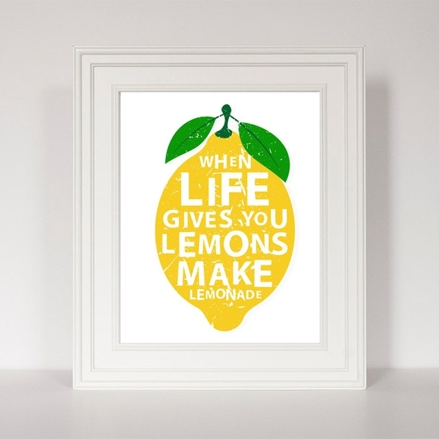 Life Gives You Lemons Quotes Canvas Painting Modern Prints Poster Intended For Lemon Wall Art (Image 13 of 20)