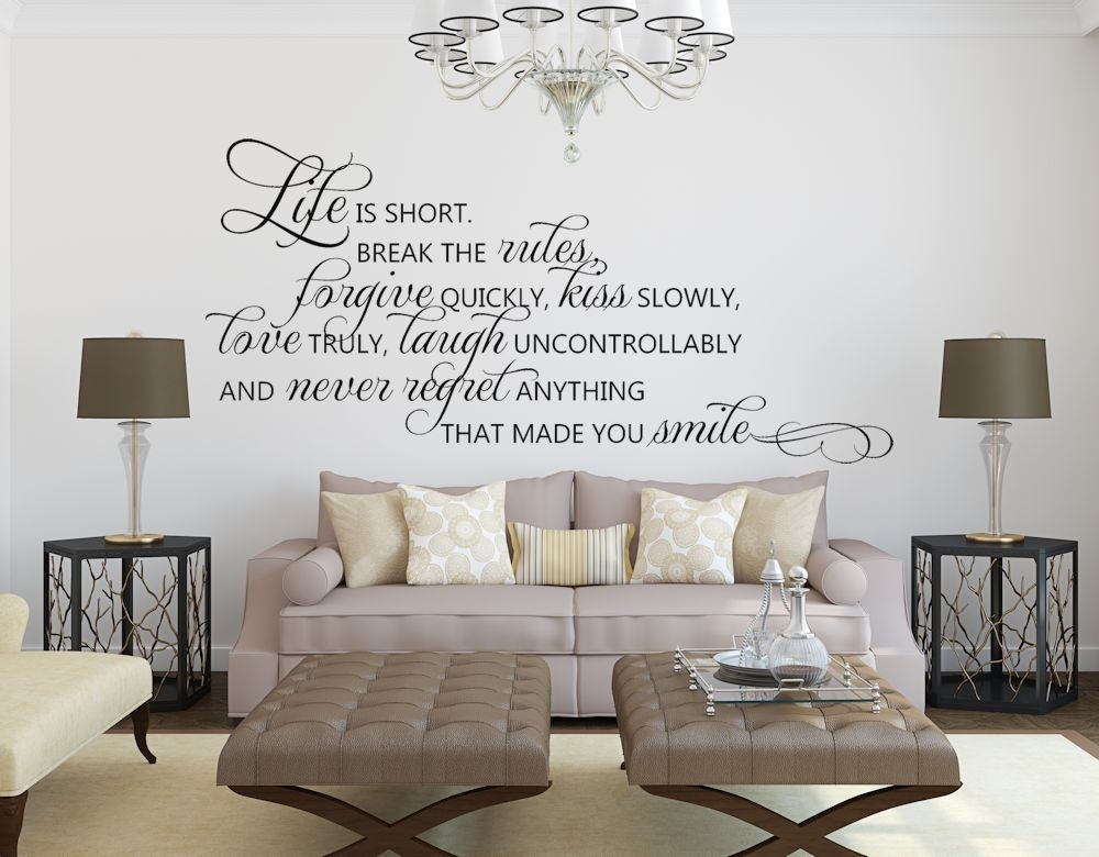 Life Is Short Quote Wall Decals Inspirational Quotes – Luxury Mall Regarding Inspirational Quotes Wall Art (Image 14 of 25)