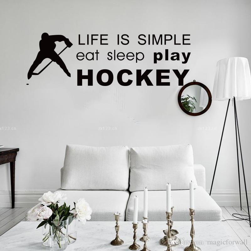 Life Is Simple Play Hockey Wall Quote Wall Stickers Home Decor Pertaining To Hockey Wall Art (View 2 of 10)