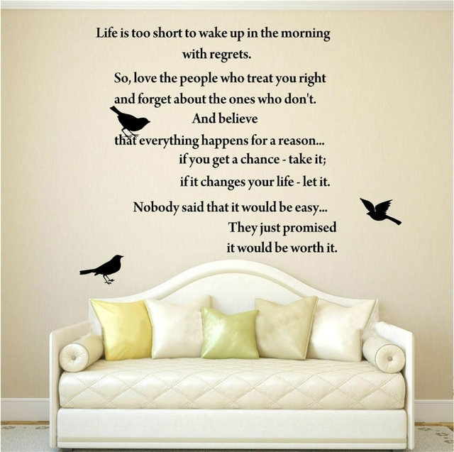 Life Is Too Short Inspirational Poems Wall Art Quote Decal Vinyl Regarding Inspirational Wall Art (Image 8 of 10)