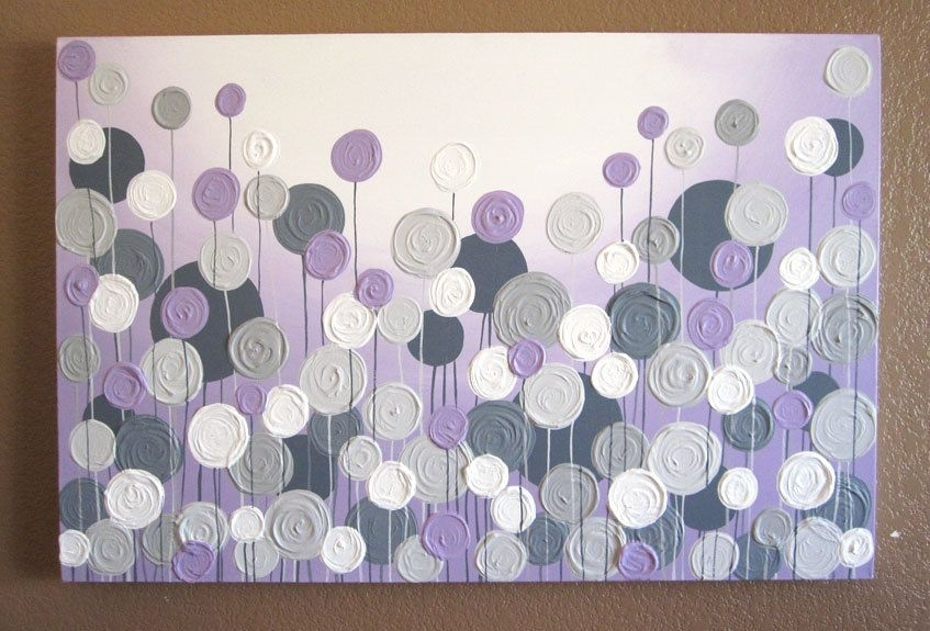 Light Purple And Grey Textured Painting, Abstract Flowers, Large Regarding Purple And Grey Wall Art (View 22 of 25)