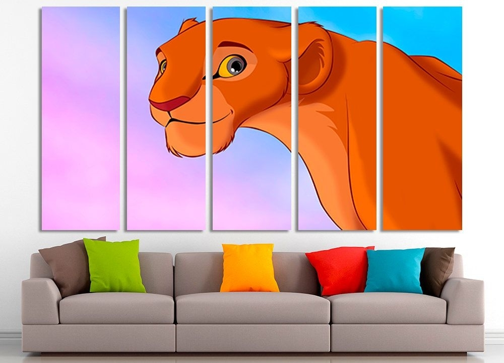Lion King, Lion King Wall Art, Lion King Canvas, Nursery Wall Decor Throughout Lion King Wall Art (Image 17 of 25)