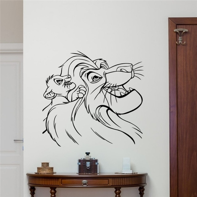 Lion King Wall Decal Cartoons Vinyl Sticker Simba Nursery Wall Decor In Lion King Wall Art (Image 13 of 25)