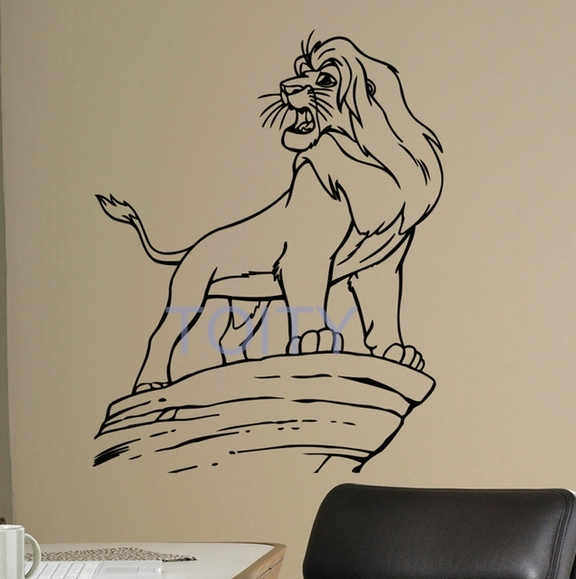 Lion King Wall Decal Retro Cartoons Vinyl Sticker Boy Bedroom Within Lion King Wall Art (Photo 25 of 25)