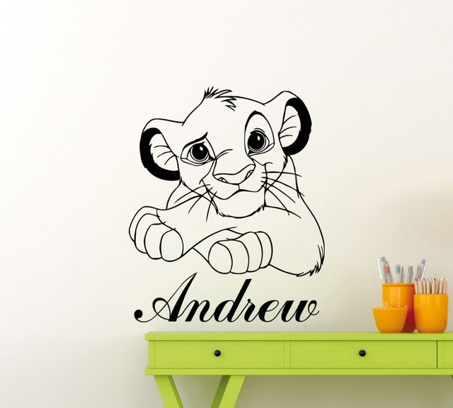 Lion King Wall Sticker Custom Name Cartoon Vinyl Wall Decals Simba In Lion King Wall Art (Image 15 of 25)