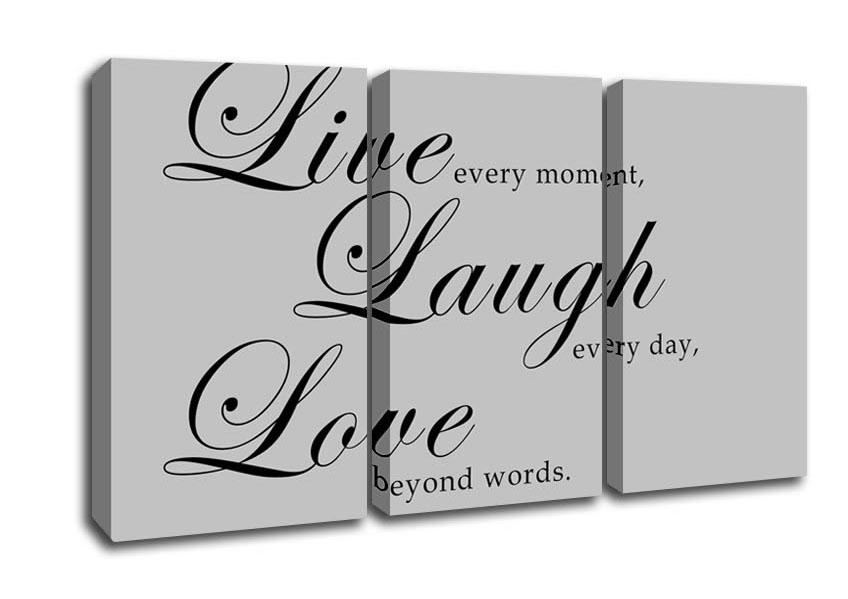 Live Laugh Love 2 Grey Text Quotes 3 Panel Canvas 3 Panel Set Canvas Pertaining To Live Laugh Love Wall Art (Image 7 of 25)