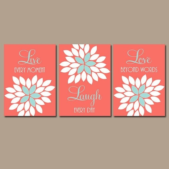 Live Laugh Love Wall Art, Coral Wall Art, Coral Nursery Decor, Coral Inside Coral Wall Art (Image 14 of 25)