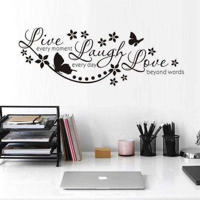 Live Laugh Love Wall Art Stickers Butterfly Star Quote Adesivo De With Live Laugh Love Wall Art (Image 15 of 25)