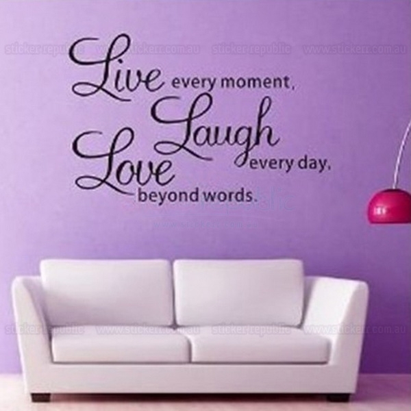 Live Laugh Love Words Wall Art Sticker Throughout Word Wall Art (Image 7 of 20)