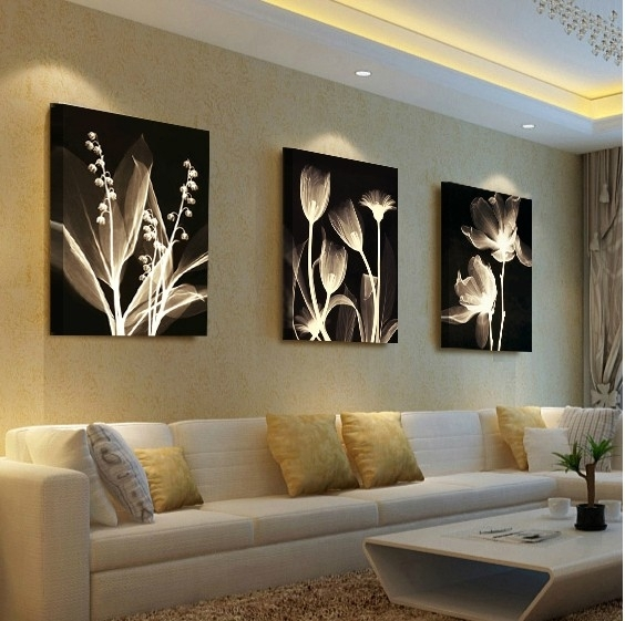 Living Room Decorative Painting Modern Sofa Background Flower Design With Regard To Living Room Painting Wall Art (View 19 of 25)