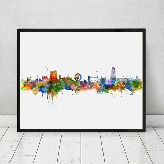 London Skyline City Poster Watercolor Painting London Wall Hanging With Regard To London Wall Art (View 6 of 25)