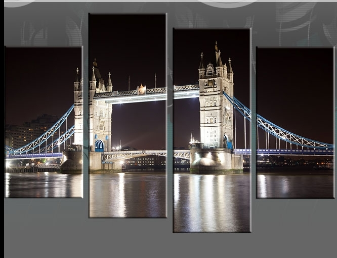 "London Tower Bridge Night Time Reflections – Available In 40"" Split Throughout London Wall Art (View 18 of 25)"