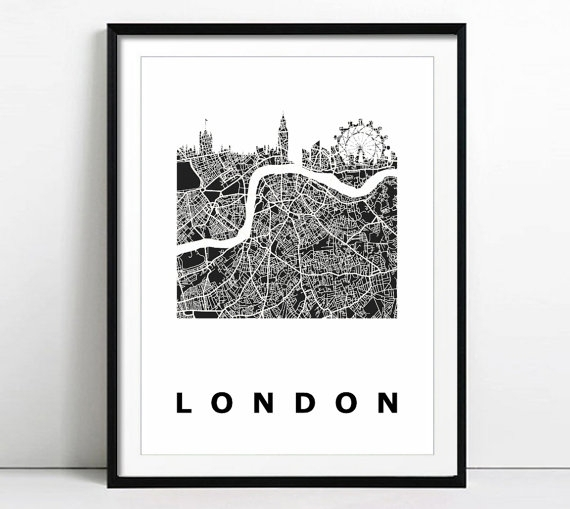 London Wall Art Print City Street Map London Citymappyart | Etsy With Regard To London Wall Art (View 14 of 25)