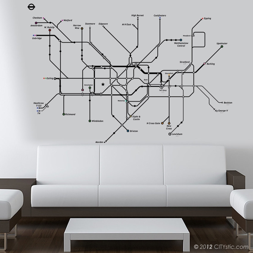 London Wall Art Stickers London Wall Decal Huge Underground Tube Map Inside London Wall Art (View 20 of 25)