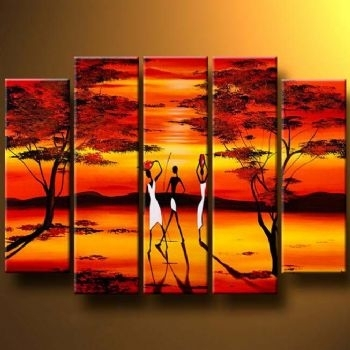 Long Shadows Modern Canvas Art Wall Decor Landscape Oil Painting Pertaining To Long Canvas Wall Art (View 2 of 25)