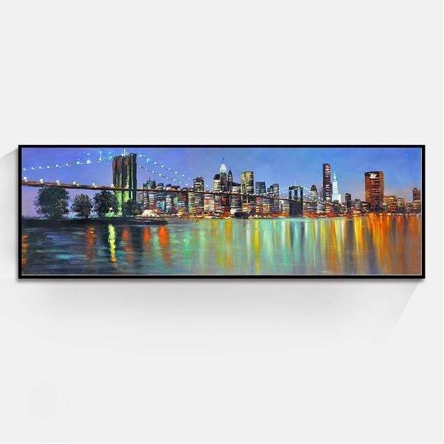 Long Style Beautiful City Landscape Paintings Wall Art Oil Painting With Long Canvas Wall Art (View 4 of 25)