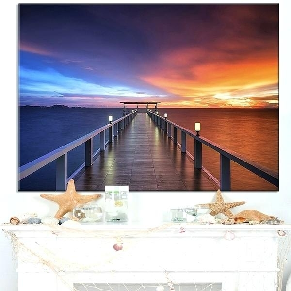 Long Wall Art Picturesque Seashore With Long Pier Sea Pier Wall Art Within Long Island Wall Art (View 23 of 25)