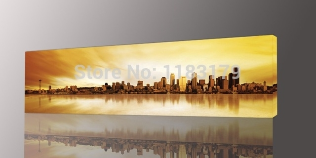 Long Yellow City Painting Canvas Wall Art Picture Print For Living Regarding Long Canvas Wall Art (View 1 of 25)