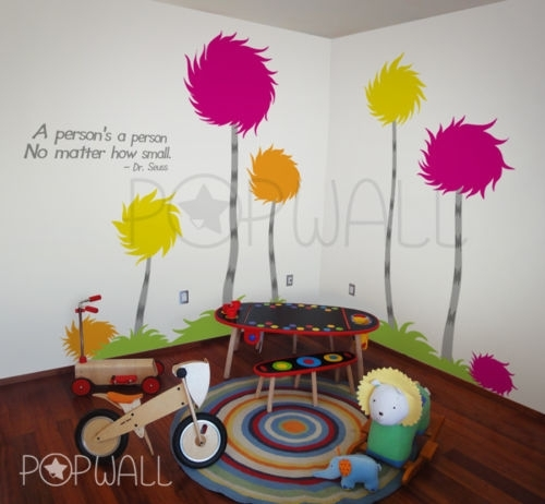 Lorax Trufulla Trees Wall Decal Wall Sticker Dr Seuss Theme Wall With Dr Seuss Wall Art (View 16 of 20)