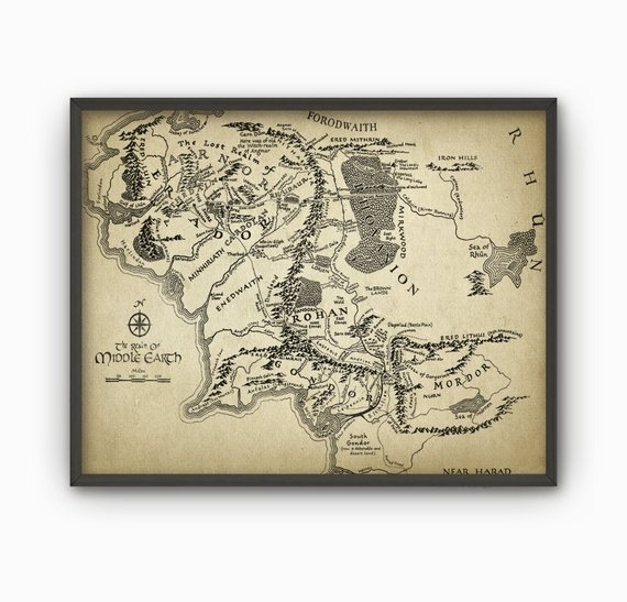 Lord Of The Rings Map Wall Art Poster Middle Earth Map | Etsy With Lord Of The Rings Wall Art (View 14 of 20)